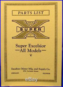 1925-1929 Excelsior Moto Cycle Liste des Pièces All Models Entièrement Illustrée
