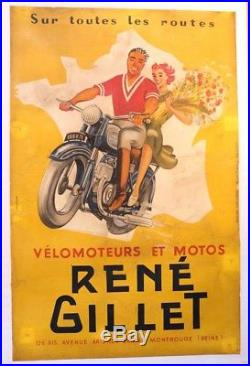 AFFICHE ANCIENNE ORIGINALE MOTO RENé GILLET NATIONALE 7 Charle Trenet FRANCE