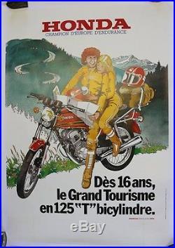 AFFICHE ORIGINALE HONDA 125 original poster seventies 1970/80 CG TWIN SL XL K