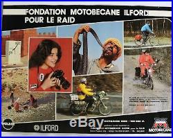 AFFICHE ORIGINALE MOTOBECANE MOBYLETTE RAID photo ILFORD WOLBER 1980 cyclo vélo