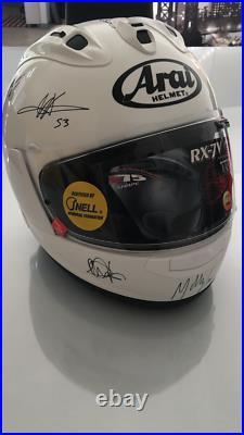 Arai RX7 V Casque de collection/ utilisable Signé par mains des pilotes moto GP