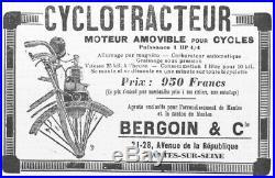Cyclotracteur moteur auxiliaire pour vélo 1913
