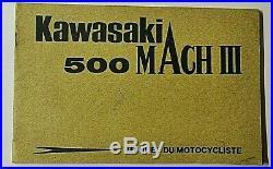 Kawasaki 500 Mach III H1 manuel du conducteur original en français 69 70 / H2 Z1