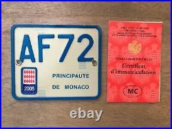 Monaco Très Rare Plaque Dimmatriculation Scooter Avec Documents Collection Ttbe