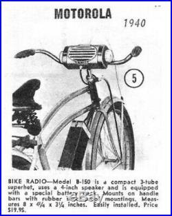Radio Motorolla, modèle B-150 pour Vespa Acma Lambretta bicyclette