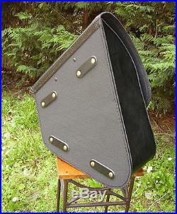 Sacoche latérale cuir noire pour Harley Softail