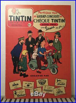 Tintin Vespa Acma 1954 Panneau Aluminium 70 x 100 cm